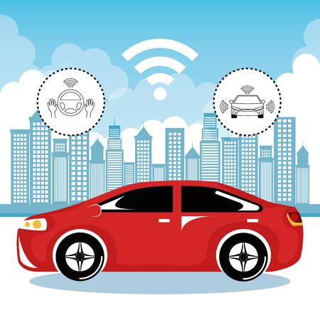 wireless communication: autonomous cars and wireless communication system, Internet of Things, smart city, smart transportation, futuristic automotive society, vector illustration Illustration