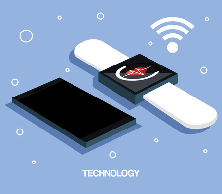 screen: smartphone and smartwatch internet wearable technology vector illustration