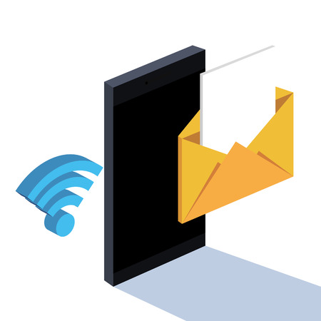 smartphone messages email wifi connected technology vector illustration