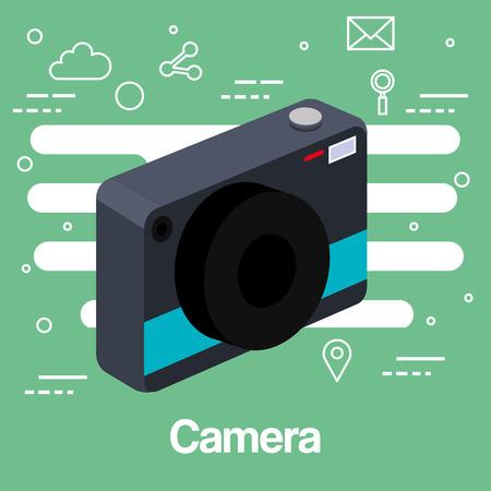 photo camera picture lens flash device technology green background vector illustration Zdjęcie Seryjne - 83870961