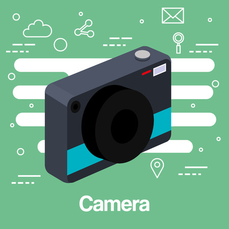 photo camera picture lens flash device technology green background vector illustration