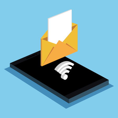 nternet: smartphone email message wifi internet vector illustration Illustration