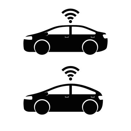 스마트 자동차 차량 전면보기 벡터 일러스트 레이션의 원격 감지 시스템