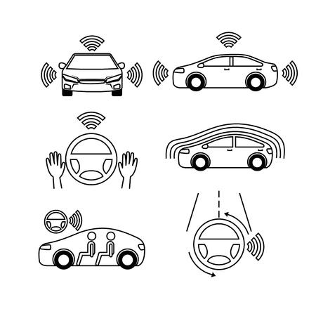 スマートな車車両フロント ビュー ベクトル図のリモートセンシング システム  イラスト・ベクター素材