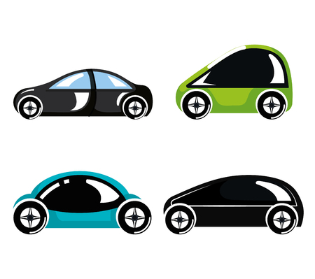 set futuristic modern car vehicles innovation vector illustration