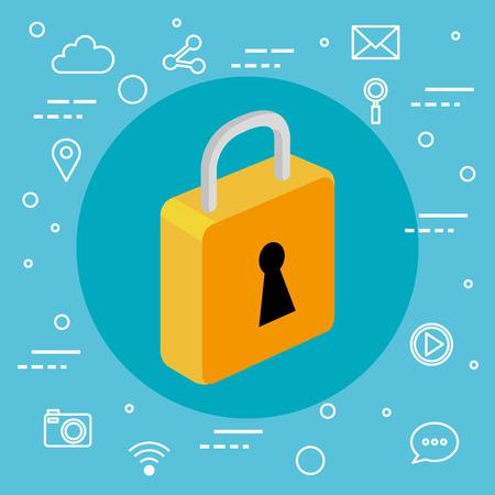 セキュリティ技術システム情報アプリ ベクトル図  イラスト・ベクター素材