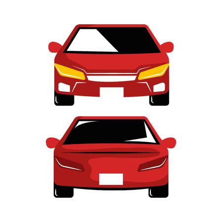 two car luxury automobile modern detailed style design vector illustration Çizim