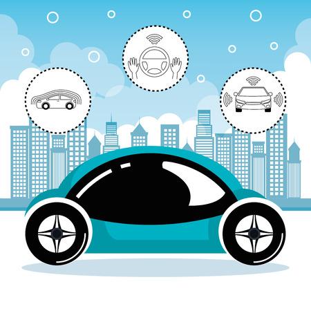 autonomous cars and wireless communication system, Internet of Things, smart city, smart transportation, futuristic automotive society, vector illustration Illustration