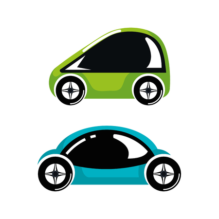 two car luxury automobile modern detailed style design vector illustration Illusztráció