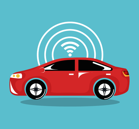 remote sensing systeem van slimme auto voertuig vooraanzicht vector illustratie Stock Illustratie