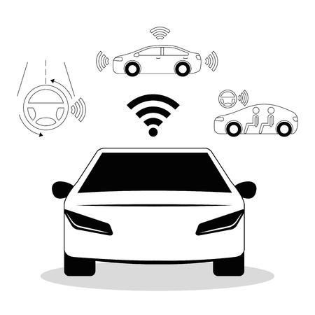 remote sensing systeem van slimme auto voertuig vooraanzicht vectorillustratie Stock Illustratie
