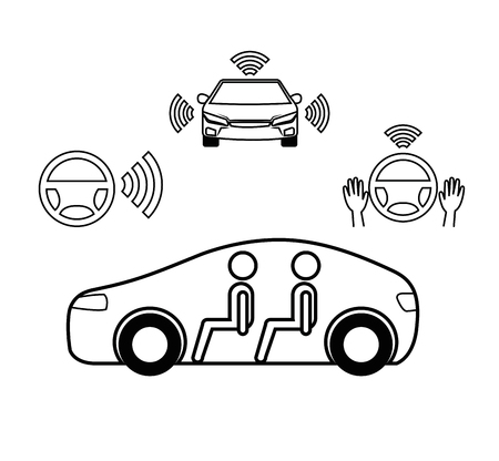remote sensing system of smart car vehicle front view vector illustration