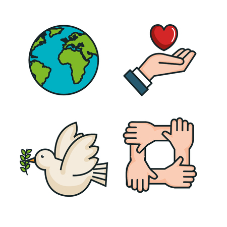 symbols peace for international peace day icons vector illustration