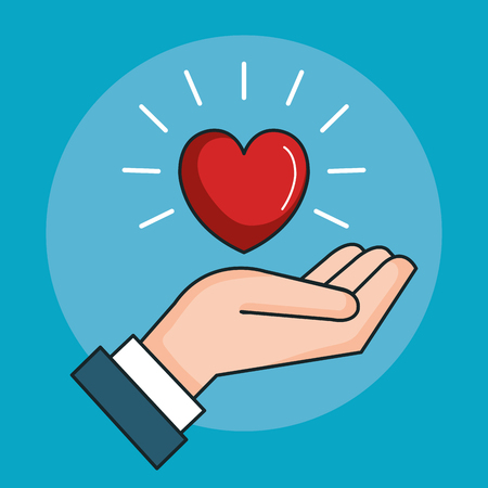 hand with heart love peace symbol vector illustration Illustration