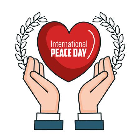 international peace day hands heart poster vector illustration