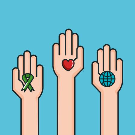 hands symbol peace world love ribbon vector illustration