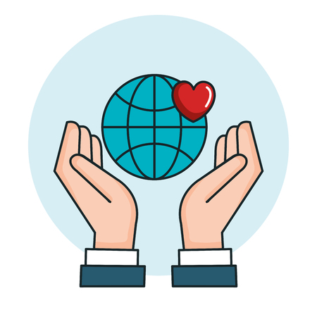 hands with world love heart symbol peace vector illustration