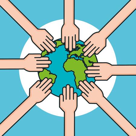 hands around world symbol peace vector illustration