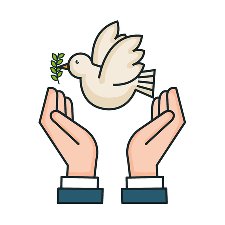 hands peace pigeon branch olive symbol vector illustration Stok Fotoğraf - 83870621