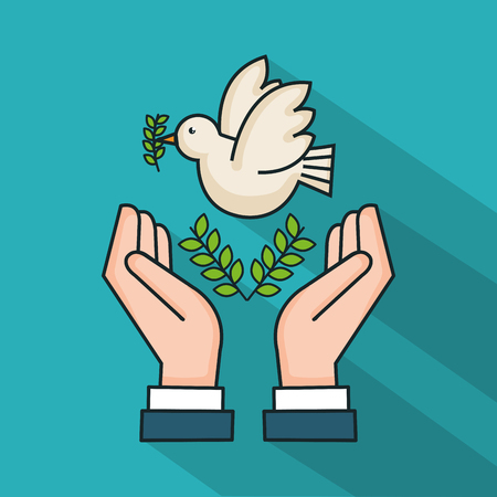 hands with dove branch olive symbol peace vector illustration