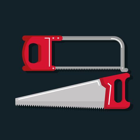 나무 제품 벡터 일러스트 레이 션을 톱밥에 대 한 목공 도구 집합