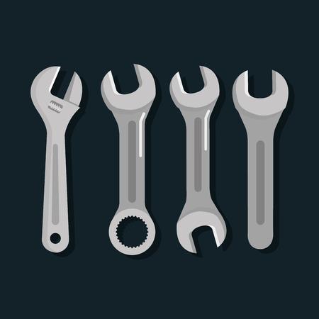 hulpmiddelen reparatie ondersteuning apparatuur werk objecten vectorillustratie