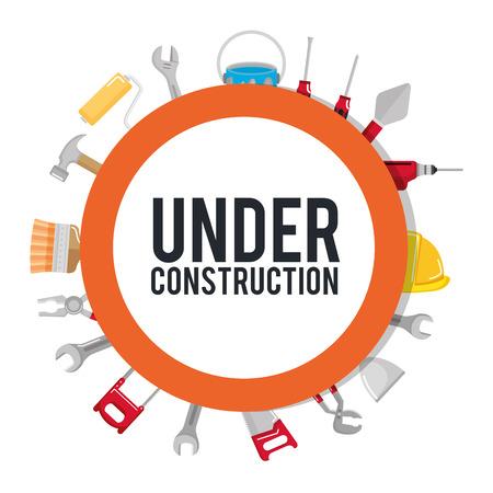 in aanbouw poster hulpmiddelen reparatie bouwen vectorillustratie Stock Illustratie