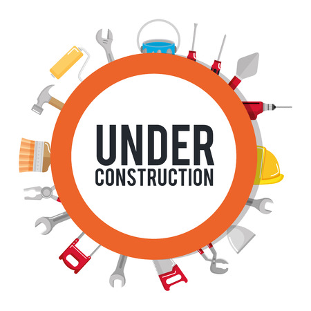 under construction poster tools repair build vector illustration