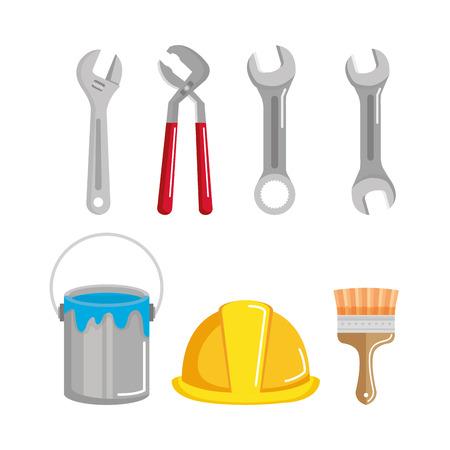 Définir la construction de bâtiments et illustration d'outils de réparation à domicile Banque d'images - 83872780