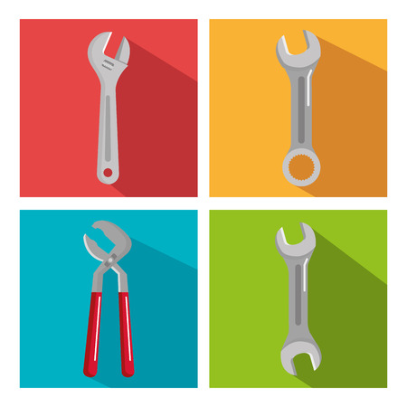 set building construction and home repair tools vector illustration