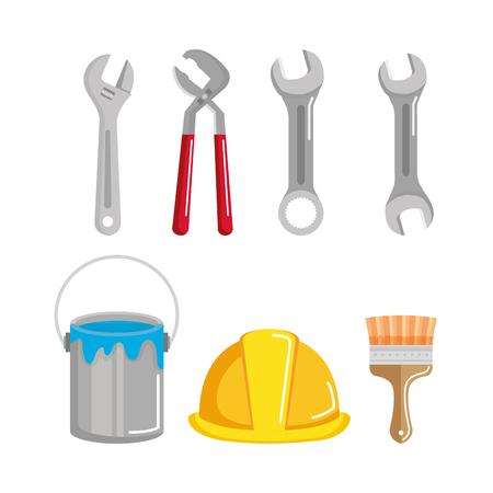 Construction de bâtiments et outils de réparation de maisons illustration vectorielle Banque d'images - 83871218