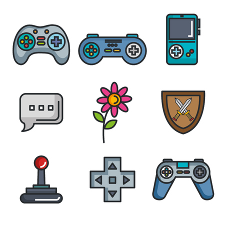 set video game entertaining items symbols vector illustration