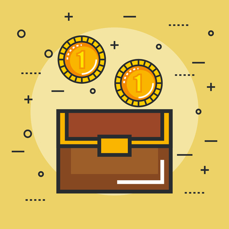 chest with golden coin, pixel art style icon, vector illustration. isolated on blue color background.