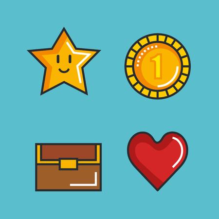 set video game entertaining items symbols vector illustration