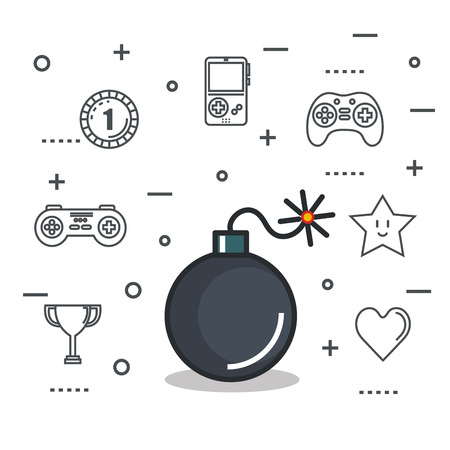 video game bomb explosive button icon vector illustration Illustration