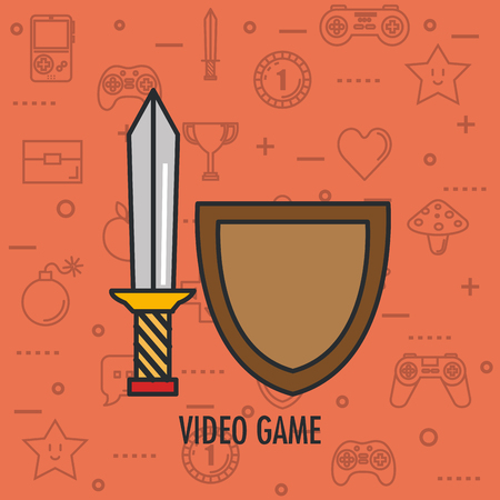 video game shield and sword weapon app vector illustration Ilustrace