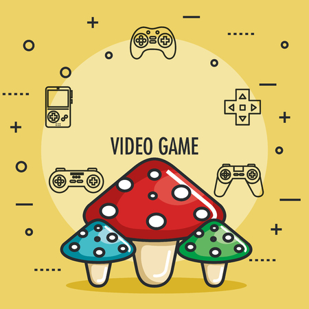 video game mushrooms entertaining element play vector illustration