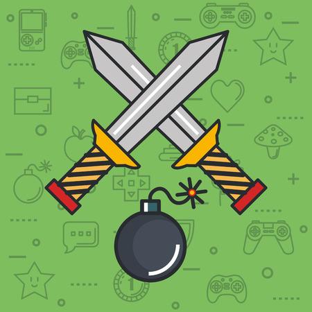 ビデオゲーム交差剣爆弾武器ボタン オブジェクトのベクトル図