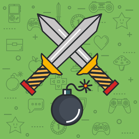 video game crossed sword bomb weapon button object vector illustration