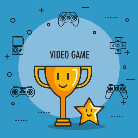 ビデオ ゲームのトロフィーとスター賞ボタン アイコン ベクトル図