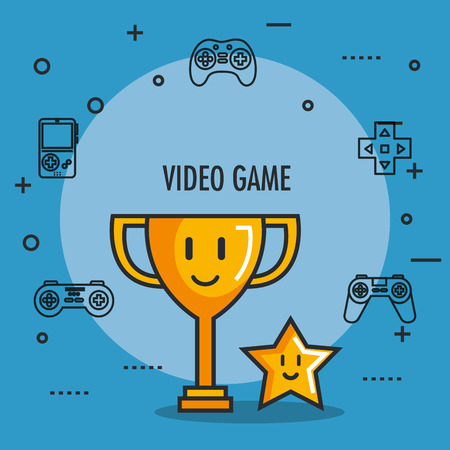 video game trophy and star award button icons vector illustration