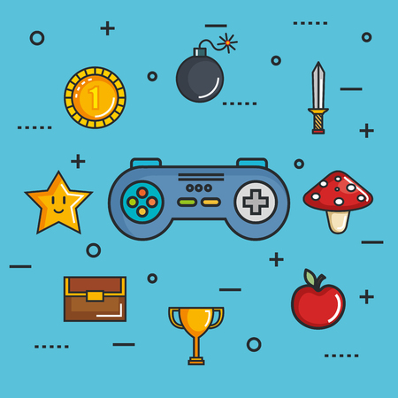 gamepad control console for video game device digital vector illustration Banco de Imagens - 83893567