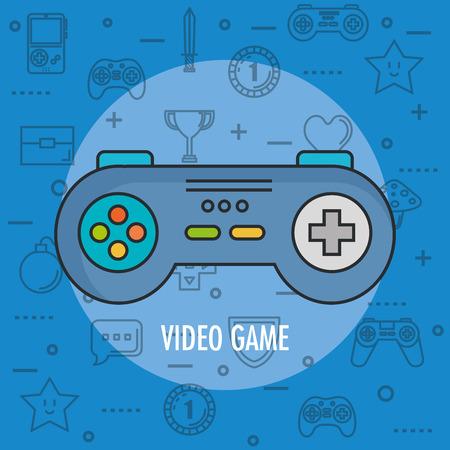 비디오 게임 장치 디지털 벡터 일러스트 레이션을위한 게임 패드 제어 콘솔