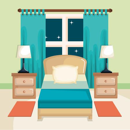 침대와 실내 인테리어 밤 스탠드와 램프 인테리어 침실 창 밤 벡터 일러스트 레이 션 일러스트