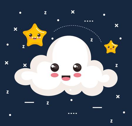 雲と星のアイコン眠る夜夢シンボル ベクトル図  イラスト・ベクター素材