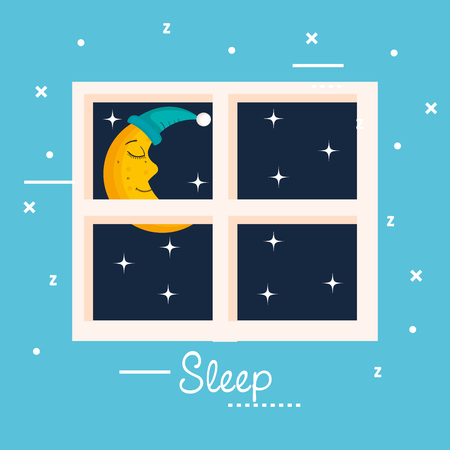 sleep moon window view star night vector illustration Çizim