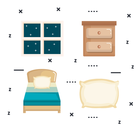 睡眠時間アイコン フラット設定ベクトル イラスト