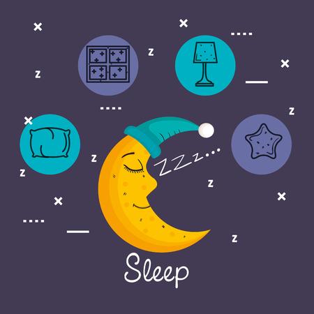 Lua dormindo na saideira isolada na ilustração vetorial de fundo azul Foto de archivo - 83893652