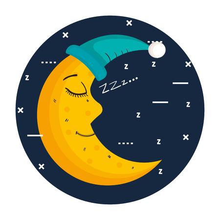 Luna addormentata in berretto da notte isolato su sfondo blu illustrazione vettoriale Archivio Fotografico - 83893656
