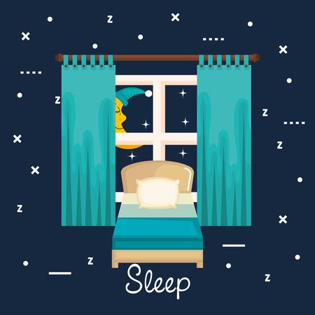 Interno della stanza con letto comodino e sala da letto interno illustrazione vettoriale sala da letto Archivio Fotografico - 83893657